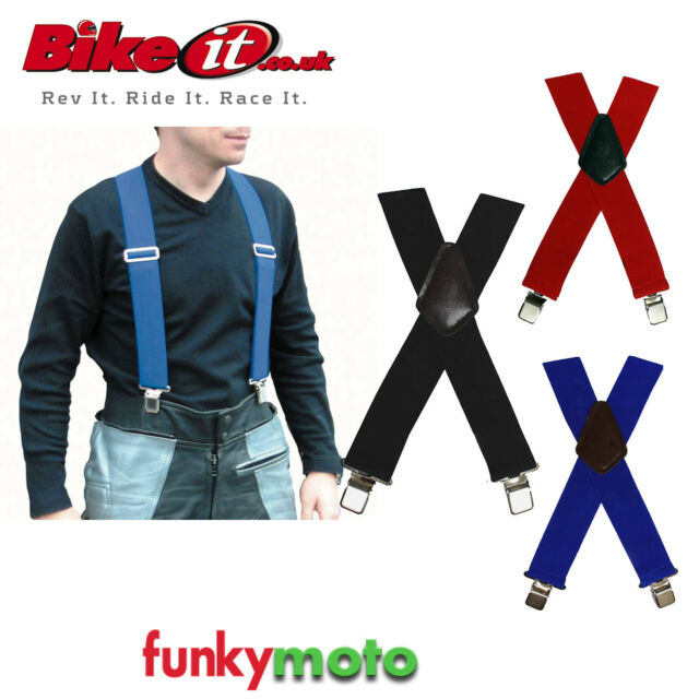 HEAVY DUTY STRONG MENS BRACES ELASTIC BLUE STRETCH MOTORCYCLE RIDER GENERAL USE