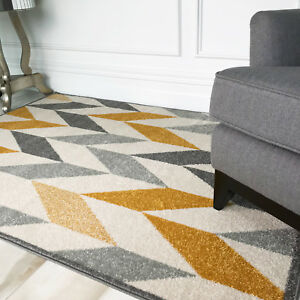 Details About Moroccan Ochre Yellow Grey Chevron Rug Soft Warm Geo Herringbone Floor Area Rugs