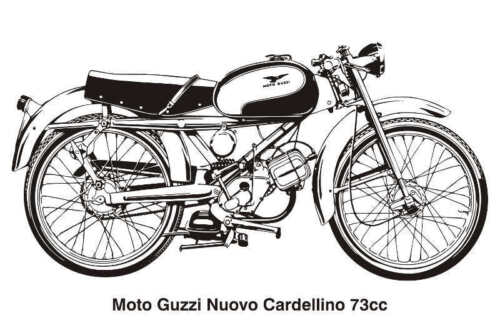 MOTO GUZZI NUOVO CARDELLINO VINTAGE MOTORCYCLE DRAWING POSTER PRINT 24x36 9 MIL