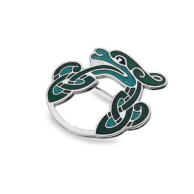 Celtic Dragon Brooch Silver Plated Green Brand New Gift Packaging