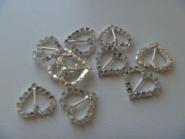 BARGAIN CLEARANCE - 10 Diamante Buckles - Heart ***see description