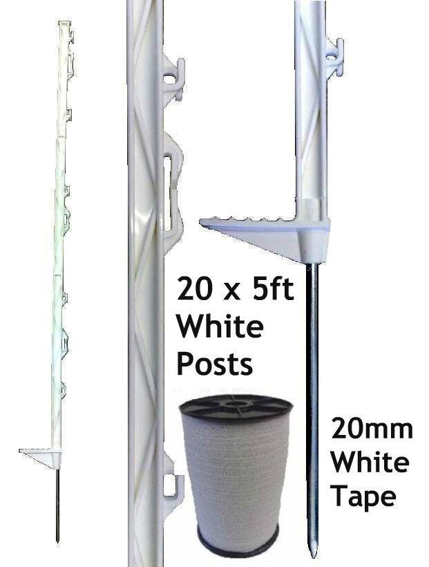 20 X blancooo 5 Pies puestos & 20mm Poly Cinta Eléctrica Fence Esgrima Caballo Paddock