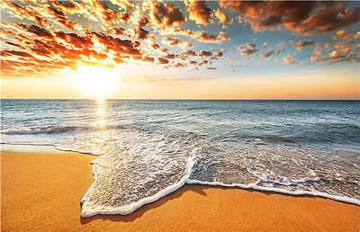 3D Golden Sand Beach Foam Sea Full Wall Mural Photo Wallpaper Printed Home Decal