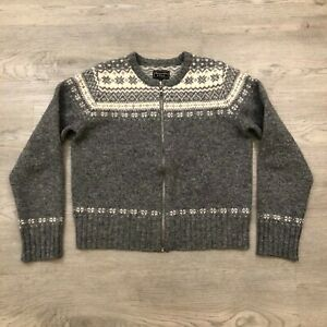 Details about Vintage Abercrombie & Fitch Womens Medium 100 Shetland Wool Gray Zip Up Sweater