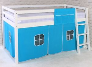 Shorty Mid Sleeper Cabin Bed Loft Bunk Tent Boys Blue New White
