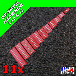 11x Red Slide DIP Switch 1 2 3 4 5 6 7 8 9 10 12 Position 2.54mm Pitch 11pcs T47