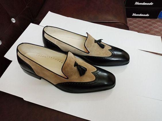 New Handmade Men Sensational Style Italian Suede shoes, los shoes de cuero