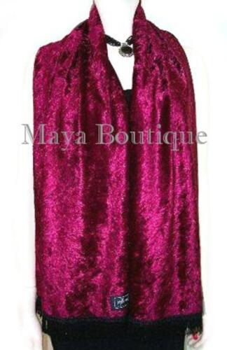 Burgundy Crush Velvet Scarf With Fringes Maya Matazaro MADE IN USA