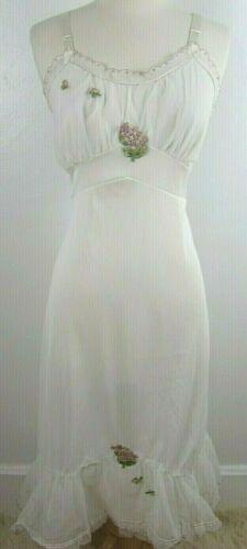 Vtg 40s Full Size Dress Slip Women's 40 White Tull
