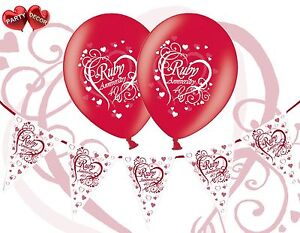 Bundle-40th-Ruby-Red-Anniversary-Balloons-Pack-of-8-Themed-Bunting-Banner-12ft
