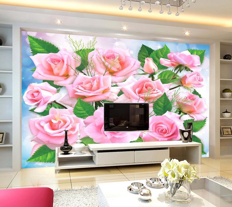 3D Flowers Leaves 838 Wallpaper Mural Paper Wall Print Wallpaper Murals UK Lemon