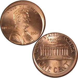 2001 Lincoln Memorial Cent BU Uncirculated Penny 1c Coin Off Center Strike Error