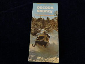Vintage-1982-Official-Oscoda-County-SNOWMOBILE-TRAIL-Michigan-Road-Map-MI