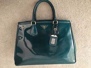 7a6f5d5649e0 Image is loading Prada-Emerald-Green-Spazzolato-Leather-Parabole-Tote-Bag-