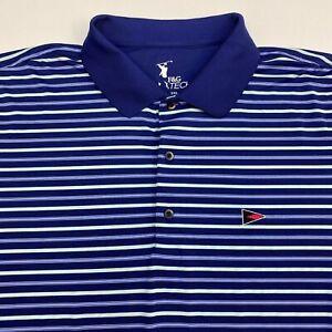F&G Tech Golf Polo Shirt Men's 2XL XXL Short Sleeve Blue Striped Polyester Blend