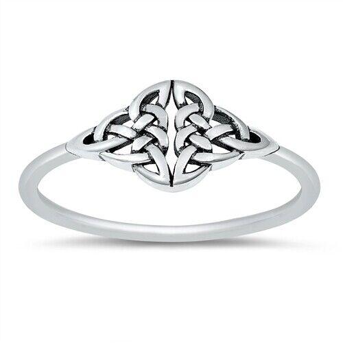 Argent Sterling 925 Pretty Celtique anneaux argentés Taille 4-10