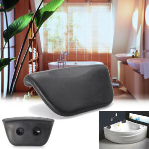 Image Is Loading PU Black Bath Pillow Bathtub Spa Head Rest