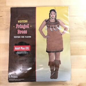 Details about Women's Western Native American Halloween Costume Plus Size  XXL Fringed Dress