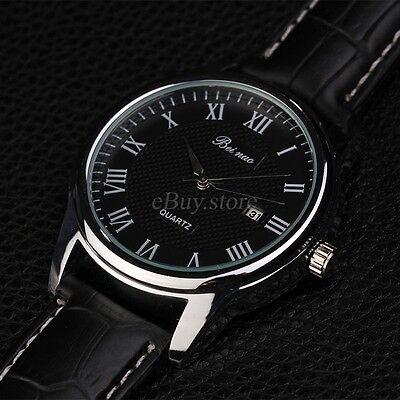 Classic Roman Numerals Men's Leather Luxury Analog Quartz AUTO Date Wrist Watch