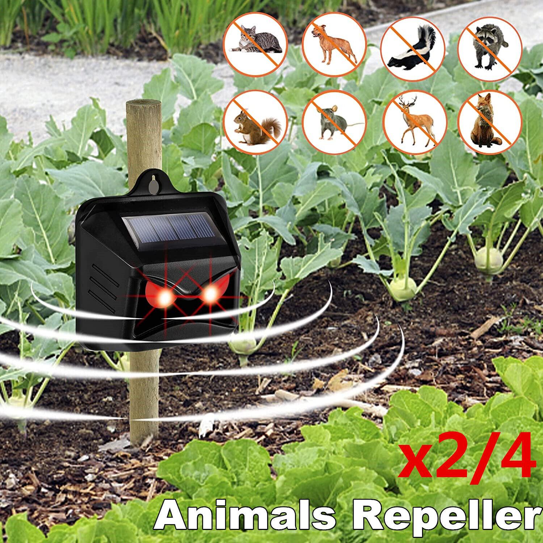 2/4x Solar Powered Red LED Predator Deterrent Lights Nocturnal Animals Repeller