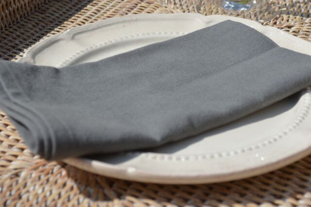 """NAPKINS, 100% Cotton Charcoal Grey Pack Of 4, 41x41cm 16x16"""" Quayside Home"""