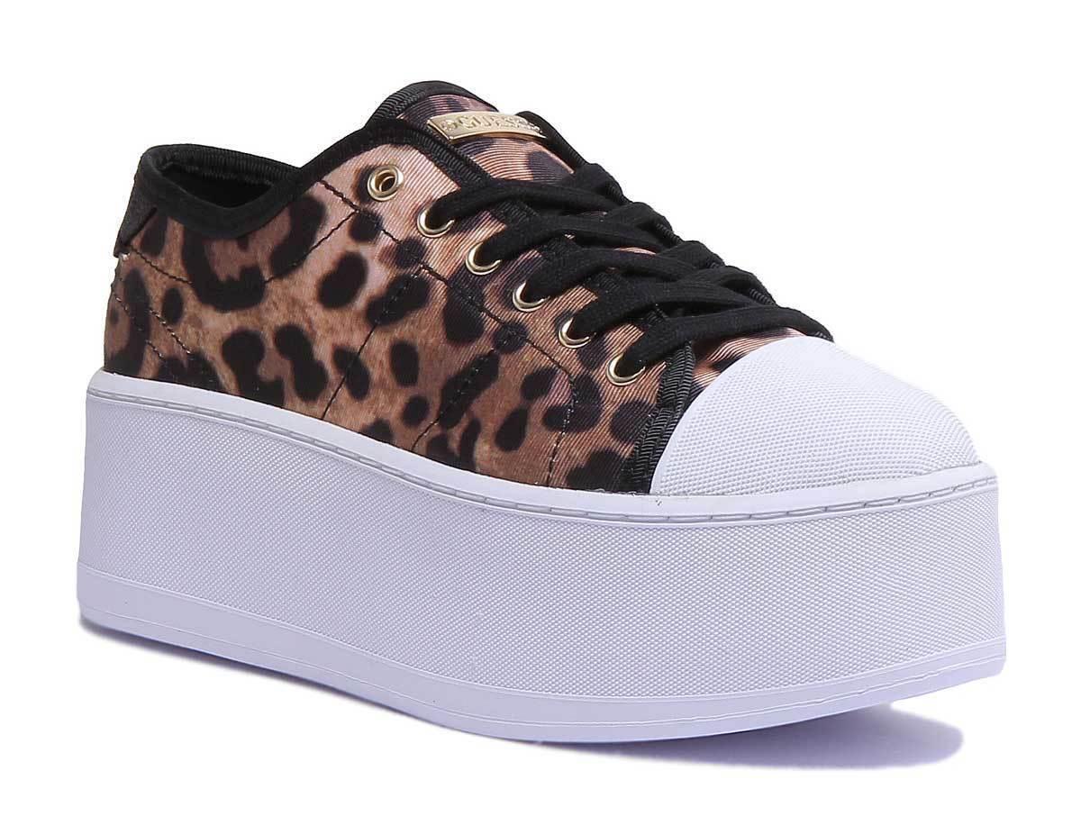 Guess Boomer Boomer Guess Leopardo Mujeres Lona Leopardo entrenadores de plataforma Talla UK 3 - 8 d7ee04