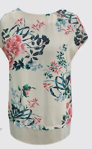 Ladies-Summer-Tunic-Top-Light-Peach-Floral-2-Tier-UK-Sizes-10-12-14-New-Branded