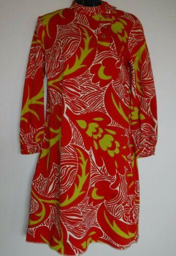 Vtg 60's Katja of Sweden Orange Mod Print Shift Dr