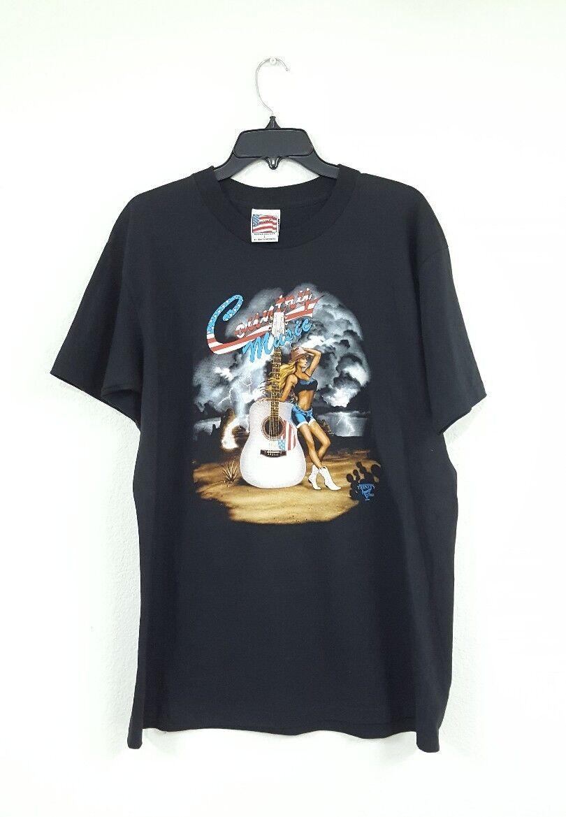 Vintage 90s Country Music Woman Guitar Single Stitch T-shirt Sz L