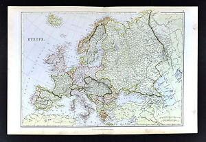 image is loading 1883 blackie map europe spain france italy germany
