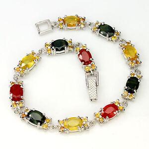 _LDN_ Magnifique Bracelet Saphir jaune verte orange_Argent 925 - France - État : Neuf avec étiquettes: Objet neuf, jamais porté, vendu dans l'emballage d'origine (comme la bote ou la pochette d'origine) et/ou avec étiquettes d'origine. ... - France