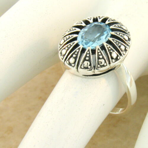 GENUINE SKY BLUE TOPAZ VICTORIAN RING 925 STERLING SILVER ANTIQUE STYLE #1103