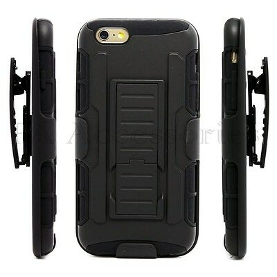 Shock Proof Defender Heavy Duty Armour Tough Stand Case Cover With Belt Clip
