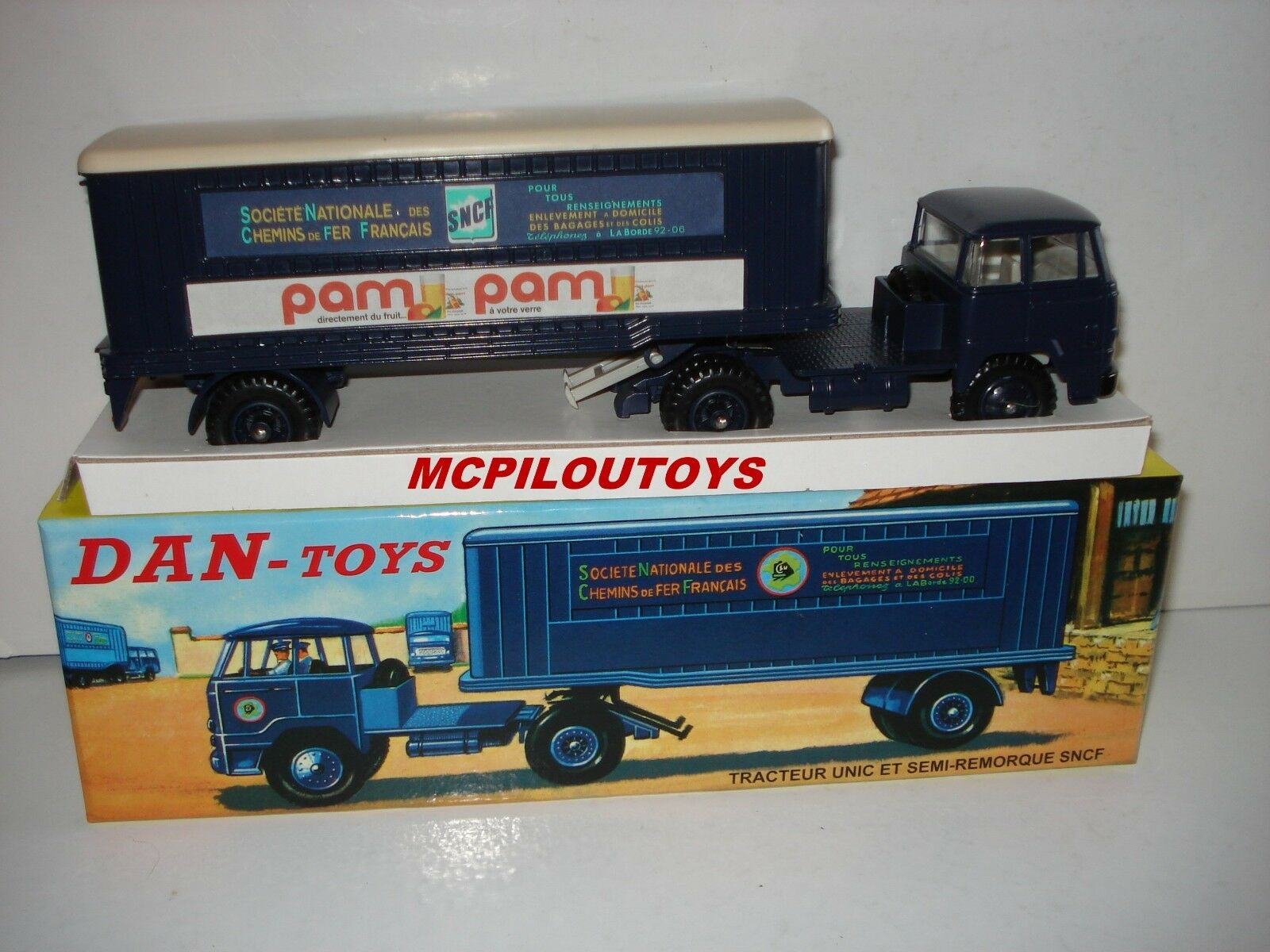 DAN TOYS 004 TRACTOR UNIC WITH MID TRAILER SNCF in the 1 43°