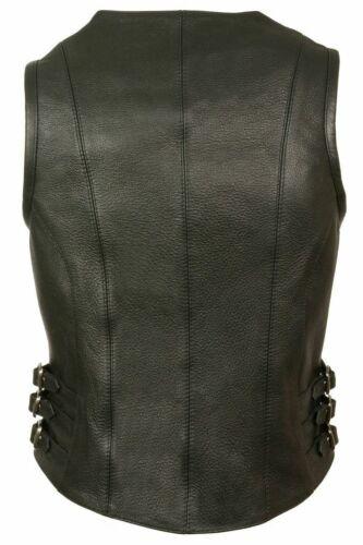 En Leather Vest Pour Avec Swat Sexy Boucles Ziper Femme Cuir Latérales Blk wq1BxT