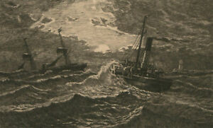 Late-19th-Century-Etching-Ships-Caught-in-Stormy-Sea