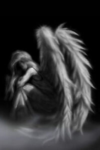Framed-Print-of-a-Gothic-Angel-Sat-in-The-Mist-Picture-Poster-Wings-Art-B-amp-W