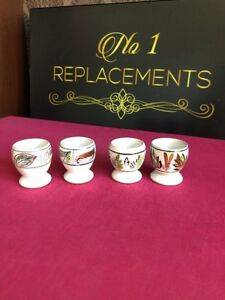 4-x-Denby-Glyn-Colledge-Hand-Painted-Footed-Egg-Cups-Leaves