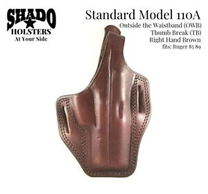 SHADO-Leather-Holster-Standard-Model-110A-RH-Brown-TB-OWB-fits-Ruger-85-89