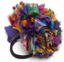 Felt So Good Satin Hair Band Scrunchie Ruffles Multi Colour Fair Trade Rainbow