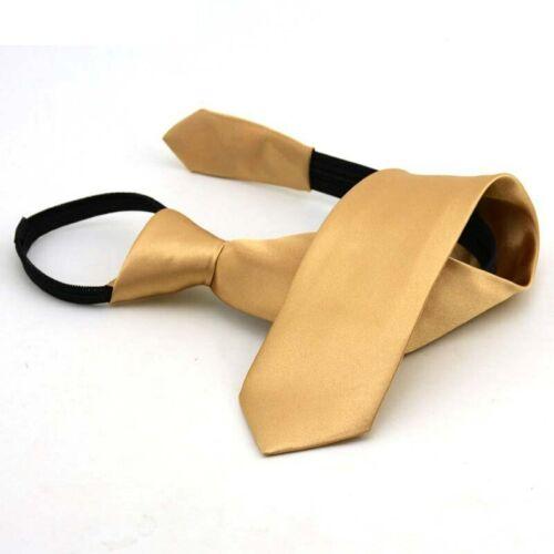 Pre-tied Neck Tie Girls Boys Kid Skinny Zipper Ties Children Solid Color Necktie