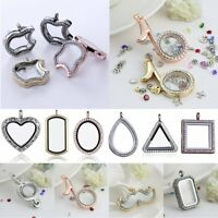 Living Memory Floating Charm Heart Crystal Glass Locket Chain Necklace Pendant