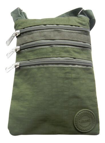 Lorenz Olive Crinkled Nylon Small Cross Body Bag Organizer 18 x 14 x 0.5 cms