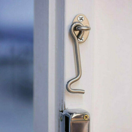 2pcs Hook and Eye Latch Lock Shed Gate Cabin Hook Latch Safety w// Screw Fittings