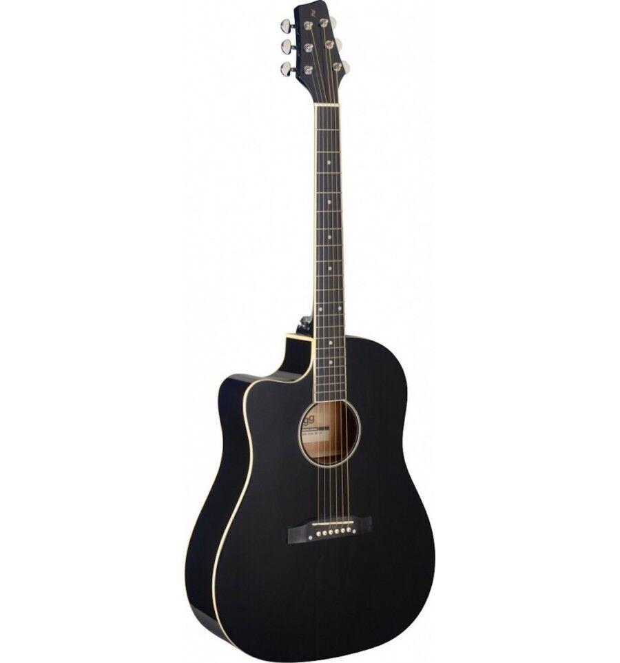 Stagg SA35 DSCE-BK LH - guitare électro-acoustique gaucher noire