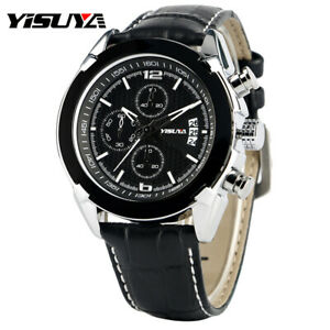 e2005ce6d YISUYA Military Men's Date Quartz Chronograph Black Genuine Leather ...