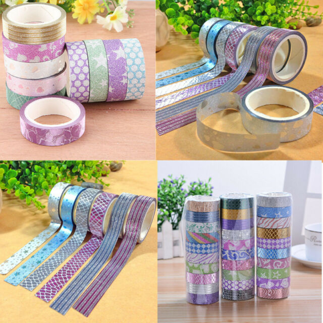 Glitter DIY Self Adhesive Masking Tape Sticker 10x Washi Craft Decor 15mmx3m
