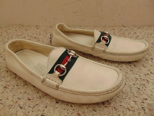 Gucci White Horse Bit Shoes Loafers Mens Size 38.5