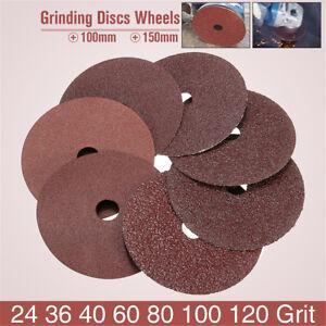 50pcs-100x16mm-Fibre-Sanding-Grinding-Discs-Wheels-24-120Grit-For-Angle-Grinder
