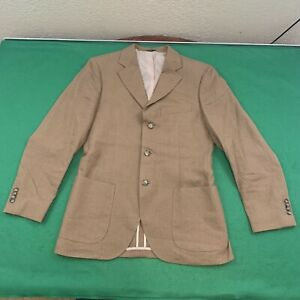 Details about Eredi Pisano Men's Size US 40 Brown 100% Linen 3 Button Blazer Made In Italy